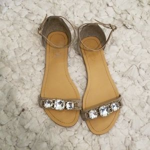 Gray sandals ankle strap size 8.5